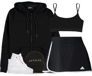 gym, black style, and outfit image
