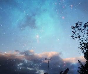 blue, estrellas, and galaxy image