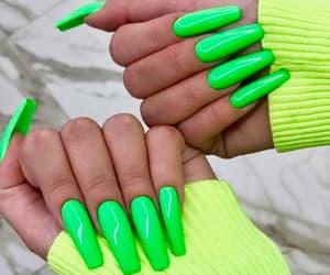 green nails, manicure, and nail image
