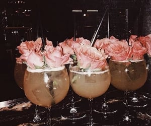 drink, rose, and flowers image