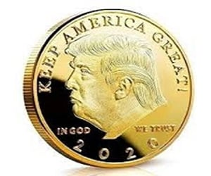 gold & silver coin and president trump usa image