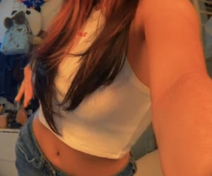 beauty, low rise jeans, and selfie image
