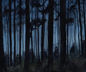 dark fantasy, forest creature, and night image