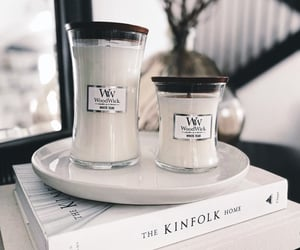 candles, white, and woodwick image