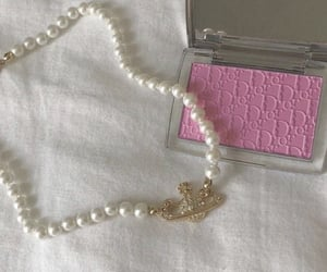 dior, makeup, and necklace image