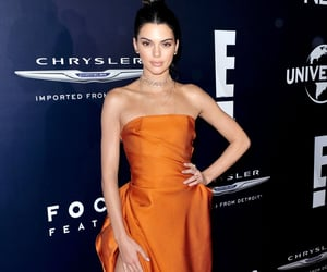 orange dress, red carpet, and kendall jenner style image