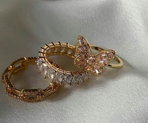 gold, rings, and diamond image