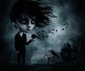 crow, gothic, and tired image