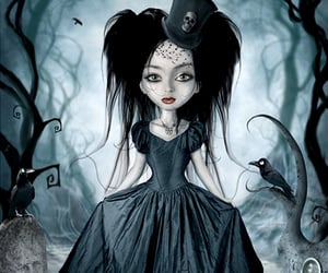 cemetery, goth girl, and pretty girl image