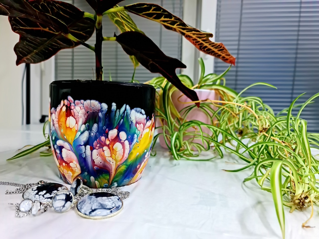 article, flowers, and acrylic pouring image