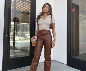aesthetic, brown oitfits, and leather pants image