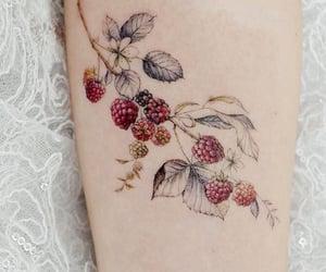 art, berries, and tattoo image