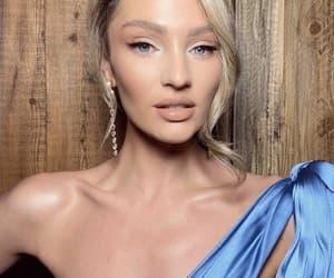 blue, dress, and makeup image