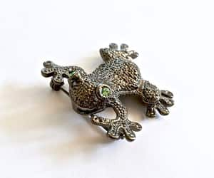 etsy, vintage jewelry, and frog pin brooch image