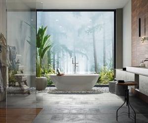 bathroom, jungle, and modern image