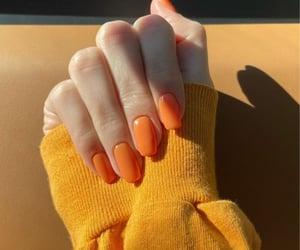 orange nails, kendall jenner, and nail inspo image