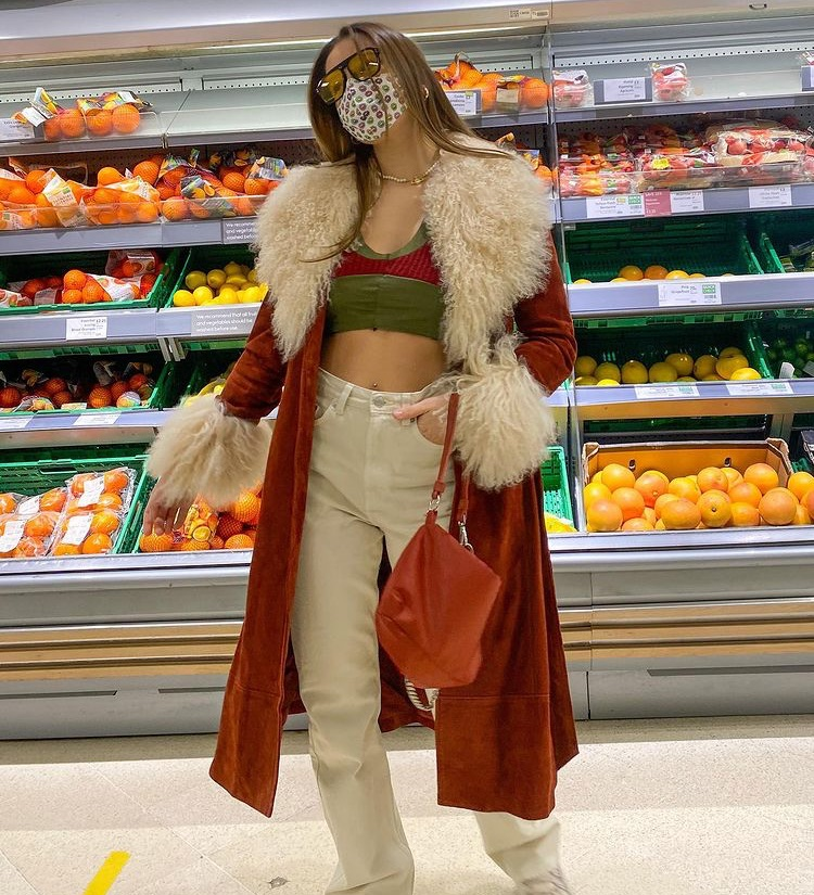 faux fur, everyday look, and green crop top image
