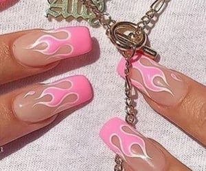 fire, nails, and pink image