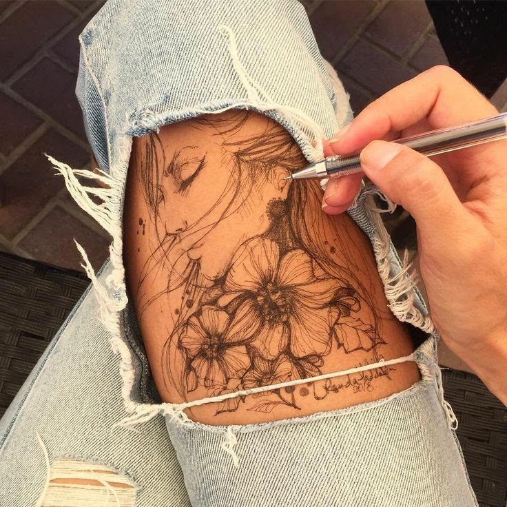 bodyart, tattoo, and flowers image