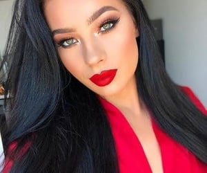 girl, make up, and red image
