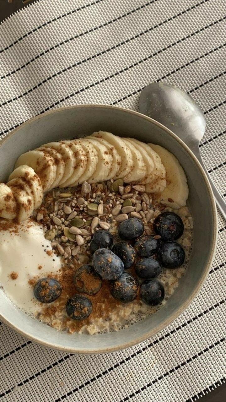 blueberry, banana, and breakfast image