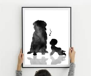 dog, wall art, and baby announcement image