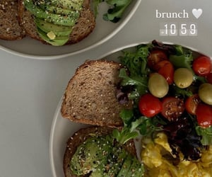 avocado, bread, and eggs image