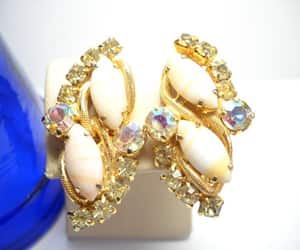 etsy, vintage earrings, and cluster earrings image