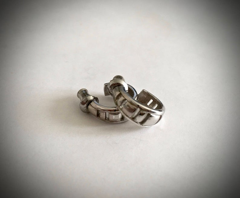etsy, silver toned heart, and hoop earrings image