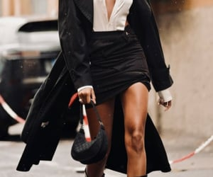 black boots, black coat, and black skirt image