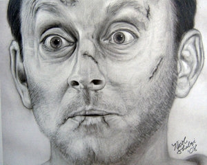 benjamin linus, black and white, and drawing image