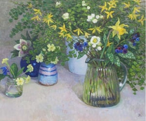 artwork, flowers, and oil image