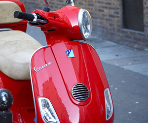 Vespa, red, and car image