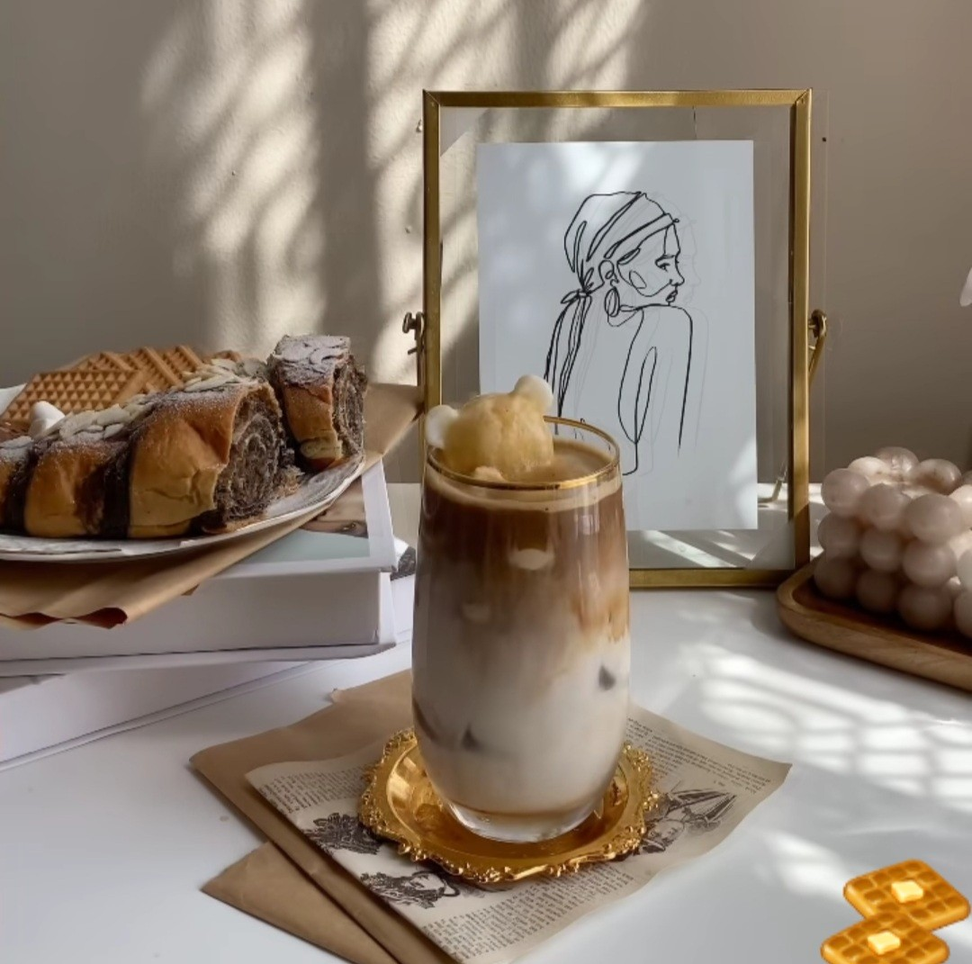 beige, cake, and coffee image