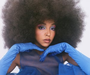 Afro, blue, and dress image