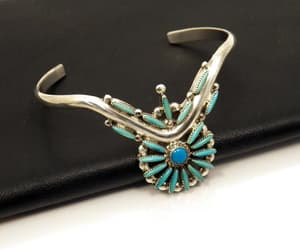 Indian Jewelry, turquoise bracelet, and sterling bracelet image