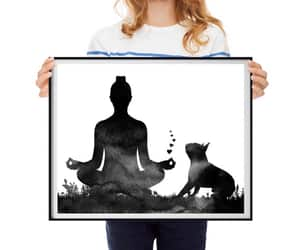 boston terrier, woman and dog, and dog art print image