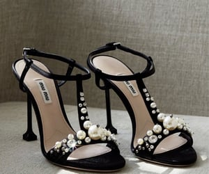 black, pearls, and shoes image