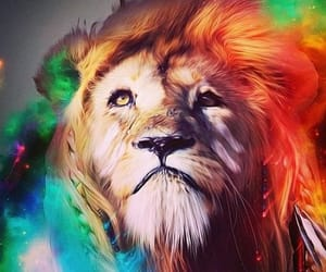 colorful, lion, and digital art image