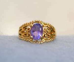 purple gold, amethyst ring, and gift for her image