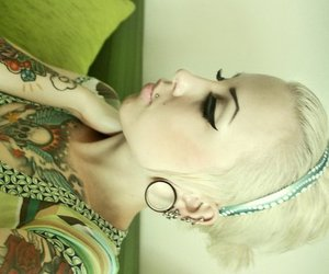 blond, eyebrows, and piercing image