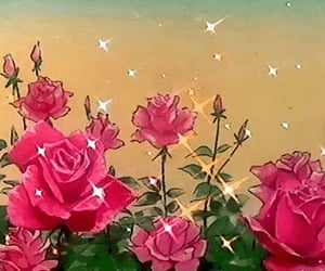 anime, pink, and pink roses image