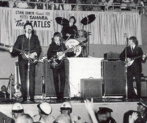beatles, concert, and george harrison image