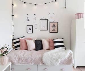 bedroom, lights, and comfy image