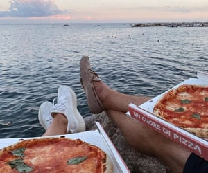 couple, food, and sea image