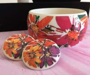 lucite jewelry, orange flower, and floral bangle image