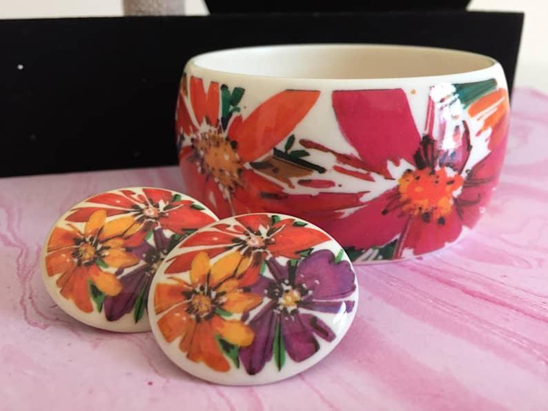 etsy, purple flowers, and floral bracelet image