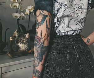 body art, cats, and girls with tattoos image