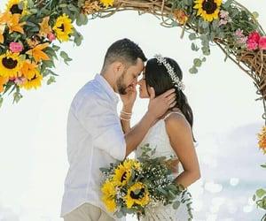 groom, sunflowers, and wedding goals image
