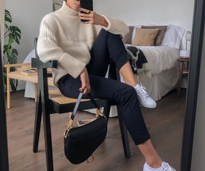 black pants, winter outfit, and office outfit image